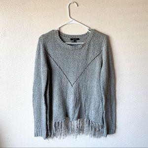 Miss Me Crochet Fringe Cross Back Sweater